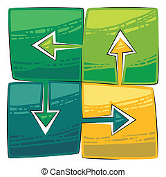 Four green arrows