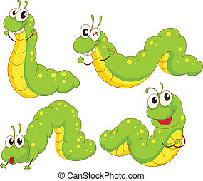 Four green caterpillars