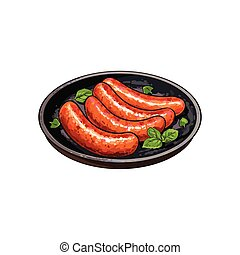 Four grilled, barbequed sausages on frying pan - Four...