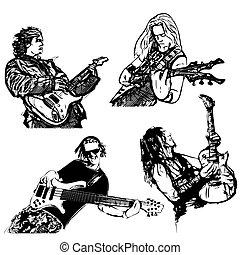 four guitar players
