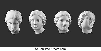 Four gypsum copy of ancient statue Venus head isolated on ...