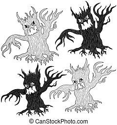 Four Halloween angry evil tree