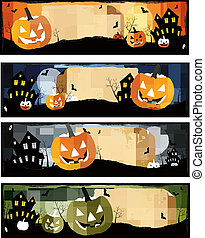 Four Halloween banners Vector
