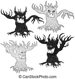 Four Halloween evil tree