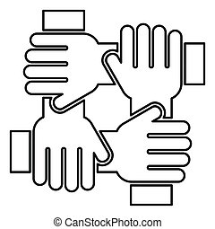 Four hand holding together team work concept icon black color illustration flat style simple image