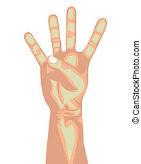 four hand over white background vector illustration