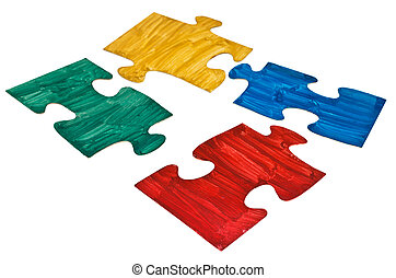four hand painted jigsaw puzzle pieces