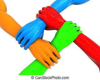 four hands - 3d illustration of four colorful hands holding...