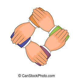 Four hands icon, cartoon style