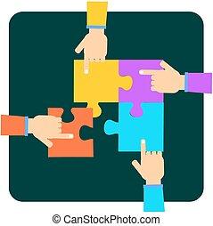 Four hands putting puzzle pieces
