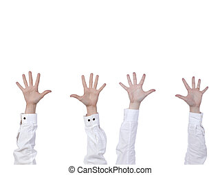 four hands raised