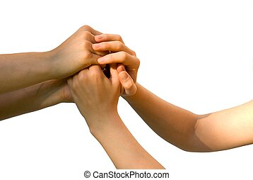 four hands holding each other on white