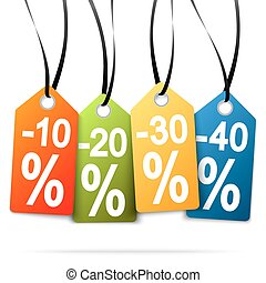 four hangtags with discounts - four colored hang tags with...