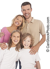 four happy caucasian family members standing together and smiling against white background. vertical shoot