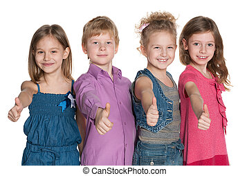 Four happy children hold his thumbs up