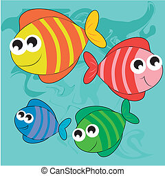 four happy fishes