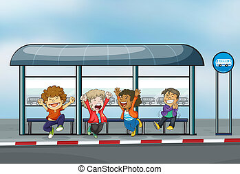 Four happy kids at the waiting shed - Illustration of the...