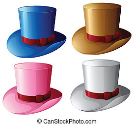 Four hats with red ribbons