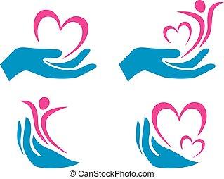 Four health care symbols for logo. Vector illustration