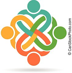 Four heart love people knot logo