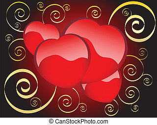 four hearts on a dark background