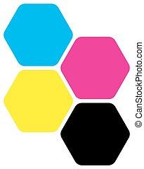 Four hexagons in CMYK colors. Printer theme. Vector...