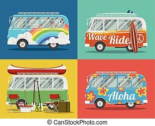 Four hippie vans