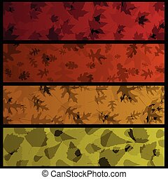 Four horizontal autumn banners