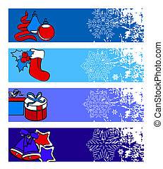 Four horizontal winter banners with traditional elements