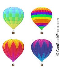 Four colorful hot air balloons on white background