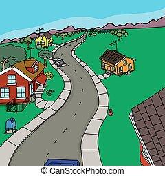 Four Houses on Street