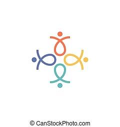 four human abstract logo