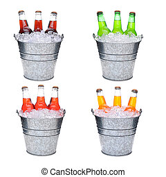 Four ice buckets filled with three soda bottles each