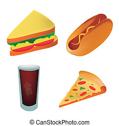 four icons of fast food representing a pizza sandwich hot dog and a cold drink