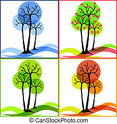 Four icons with trees