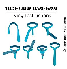 Four in hand tie knot instructions isolated on white background. Guide how to tie a necktie. Flat illustration in vector