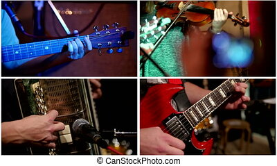 Four in one: music on concert - violinist, guitarist -musician playing in night club