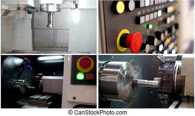Four in one: processing of metal - control panel of automatic for machine, industrial background