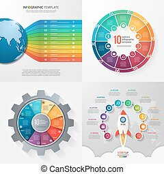 Four infographic templates with 10 steps, options, parts,...