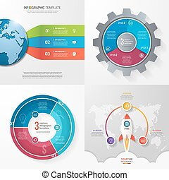 Four infographic templates with 3 steps, options, parts, processes. Business concept.