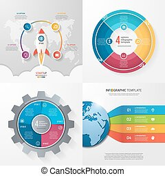 Four infographic templates with 4 steps, options, parts, processes. Business concept.