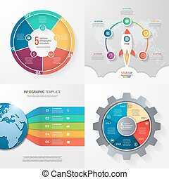 Four infographic templates with 5 steps, options, parts, processes. Business concept.