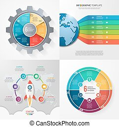 Four infographic templates with 6 steps, options, parts, processes. Business concept.