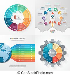 Four infographic templates with 8 steps, options, parts, processes. Business concept.