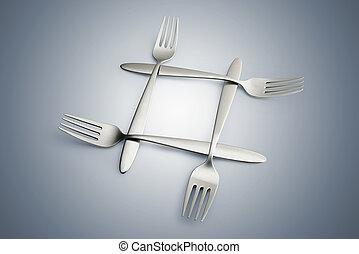 Four interlaced silver forks on blue gradiant