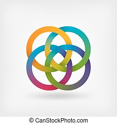four interlocked rings in rainbow colors