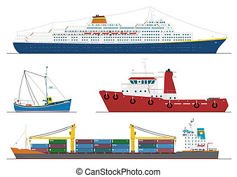 four isolated ships - fishing boat, tug boat, container ship...