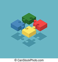 Four isometric puzzle pieces