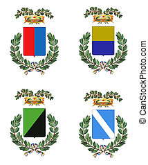 Four Italian heraldry shields - Computer-made collection of...