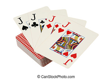 Four jacks are isolated on a white background